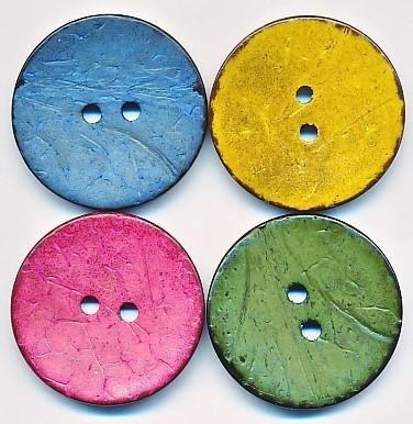 Gefärbter Knopf aus Cocos, ca.30mm Ø, von Jim Knopf