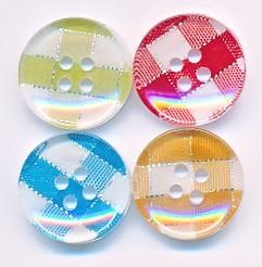 Runder Knopf aus Kunststoff, Karomuster mit Silberstreifen, ca.18mm Ø, von Union Knopf
