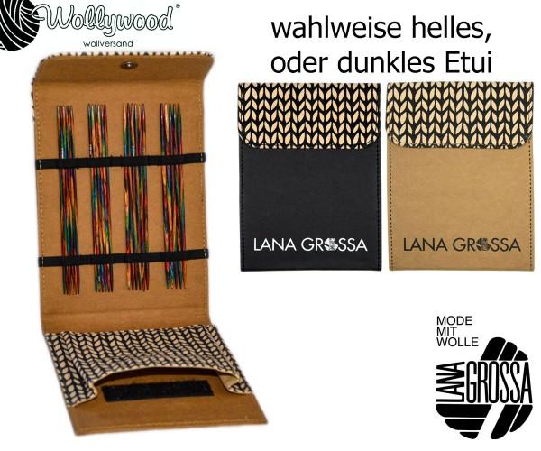 Strumpfstricknadel-Set (15cm) Design-Holz multicolor von Lana Grossa