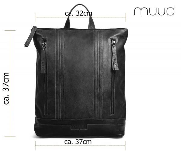 Nyköbing - Handgefertigter Rucksack aus Leder von muud (schwarz)