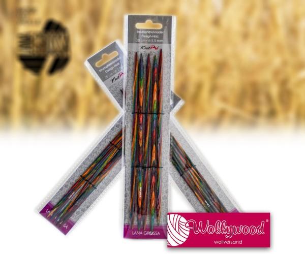 Strumpfstricknadeln aus Design-Holz multicolor von Lana Grossa