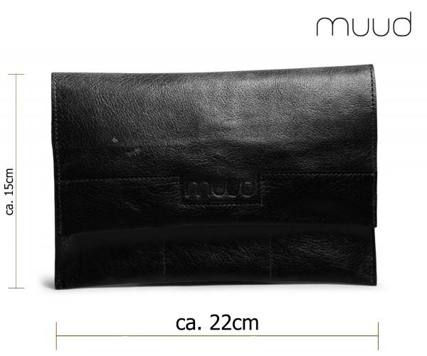 Hepburn - Handgefertigte Leder-Häkelnadeltasche von muud (schwarz)