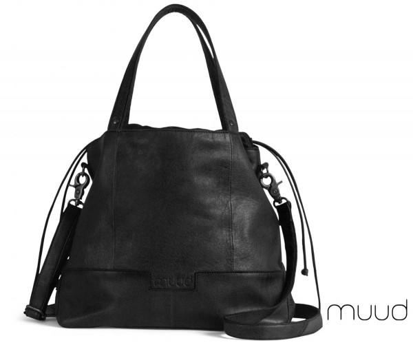 Lofoten - Handgefertigter Leder-Strickshopper von muud (schwarz)