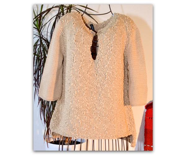 Handgestrickter Kurzarm-Pulli aus Only Cotton + Style von Lana Grossa