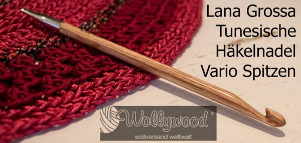 Tunesische Häkelnadel Vario Spitzen Design-Holz Natur von Lana Grossa