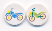 Runder Kinderknopf aus Kunststoff, Motorrad, ca.15mm Ø, von Union Knopf