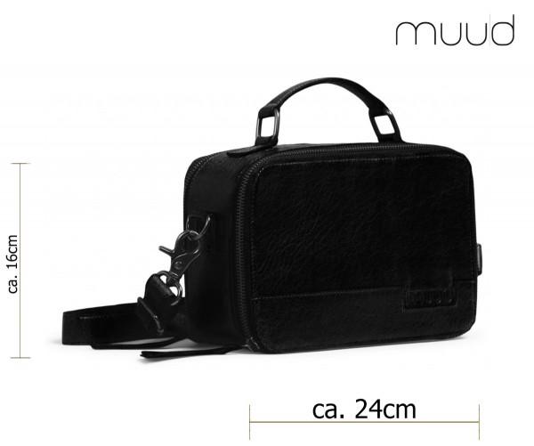 Heaven - Handgefertigte Leder-Stricktasche von muud (schwarz)