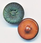 Runder Knopf, Stoffoptik, grün/schwarz, Kunststoff, ca.15mm Ø