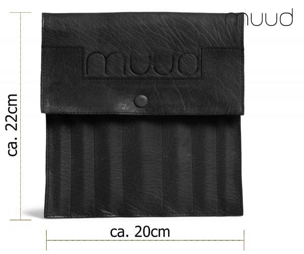 Oslo - Handgefertigte Ledertasche für Strumpfnadeln von muud (schwarz)