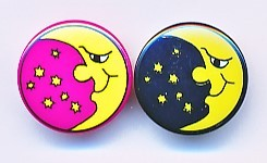 Runder Kinderknopf, Mond, Kunststoff, ca.18mm Ø