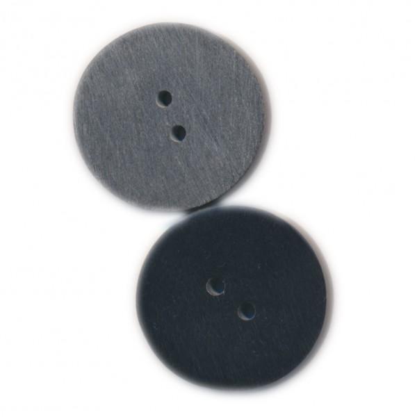 Grauer Knopf mit schwarzem Rand aus Resin